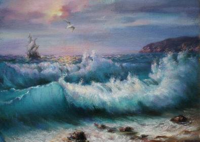 Картина масло, холст - Море