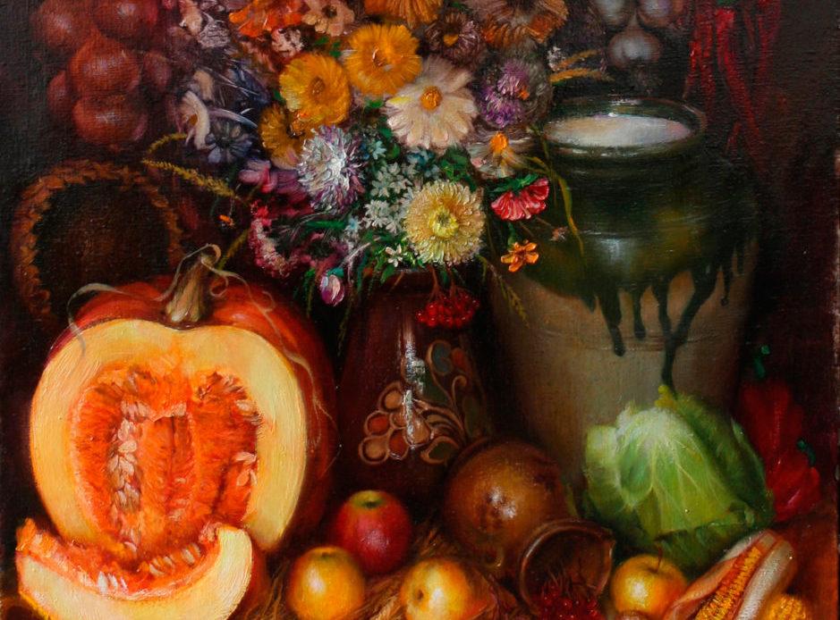 Натюрморт овощи, фрукты, цветы