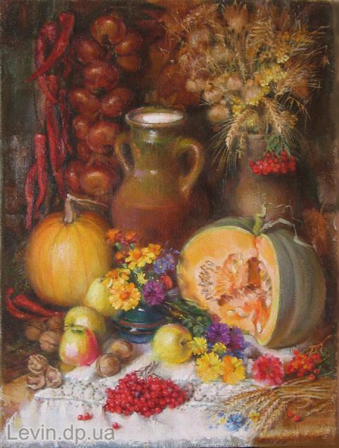 Картина натюрморт - тыква, яблоки, грецкие орехи, кувшин с молоком, калина, пшеница, лук