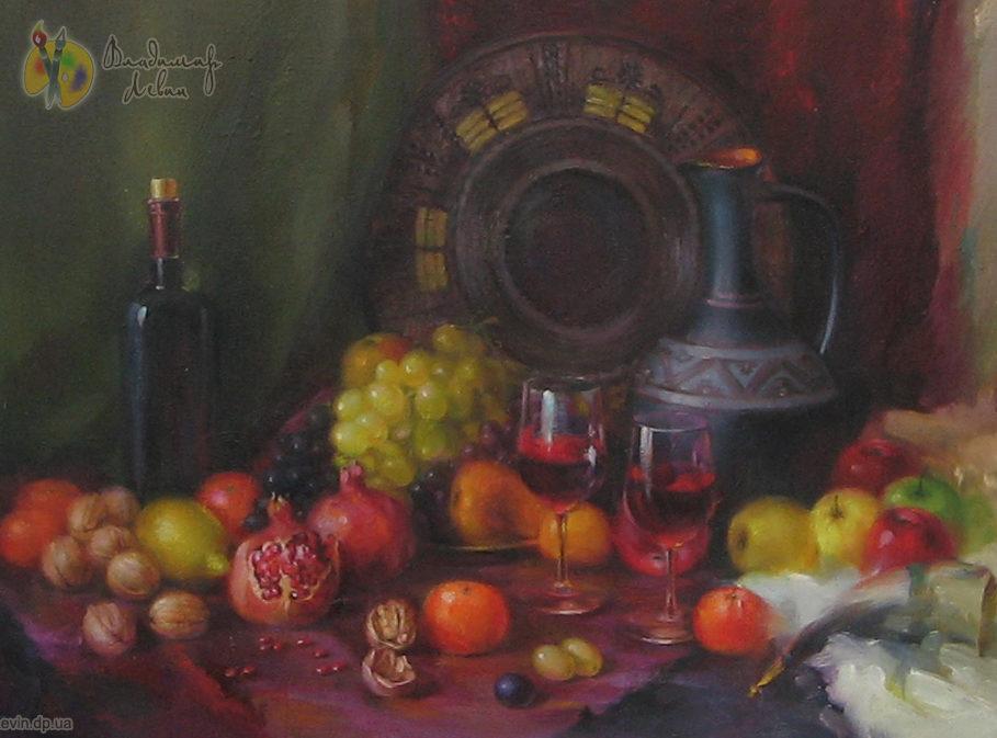 Натюрморт с гранатом и вином
