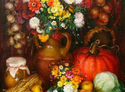 Натюрморт цветы и овощи