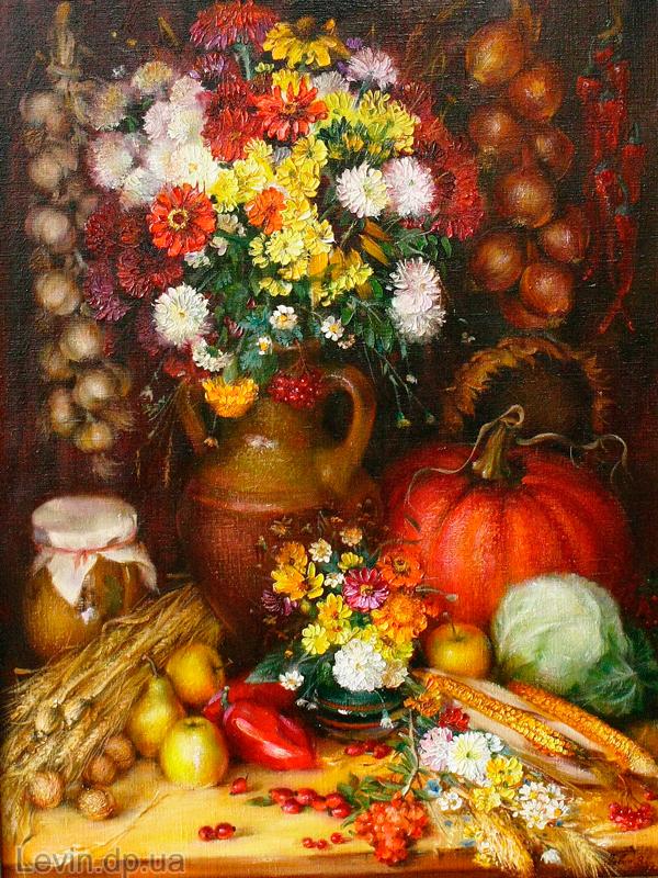 фото картины Натюрморт цветы и овощи