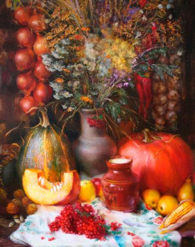 Натюрморт кувшин, тыква, ягоды