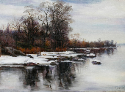 Зимняя река, пейзаж