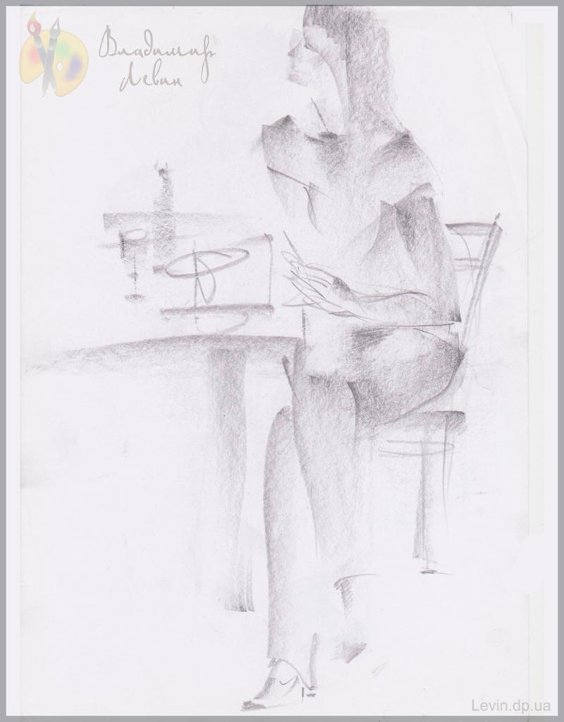 Портрет женщины, графический рисунок