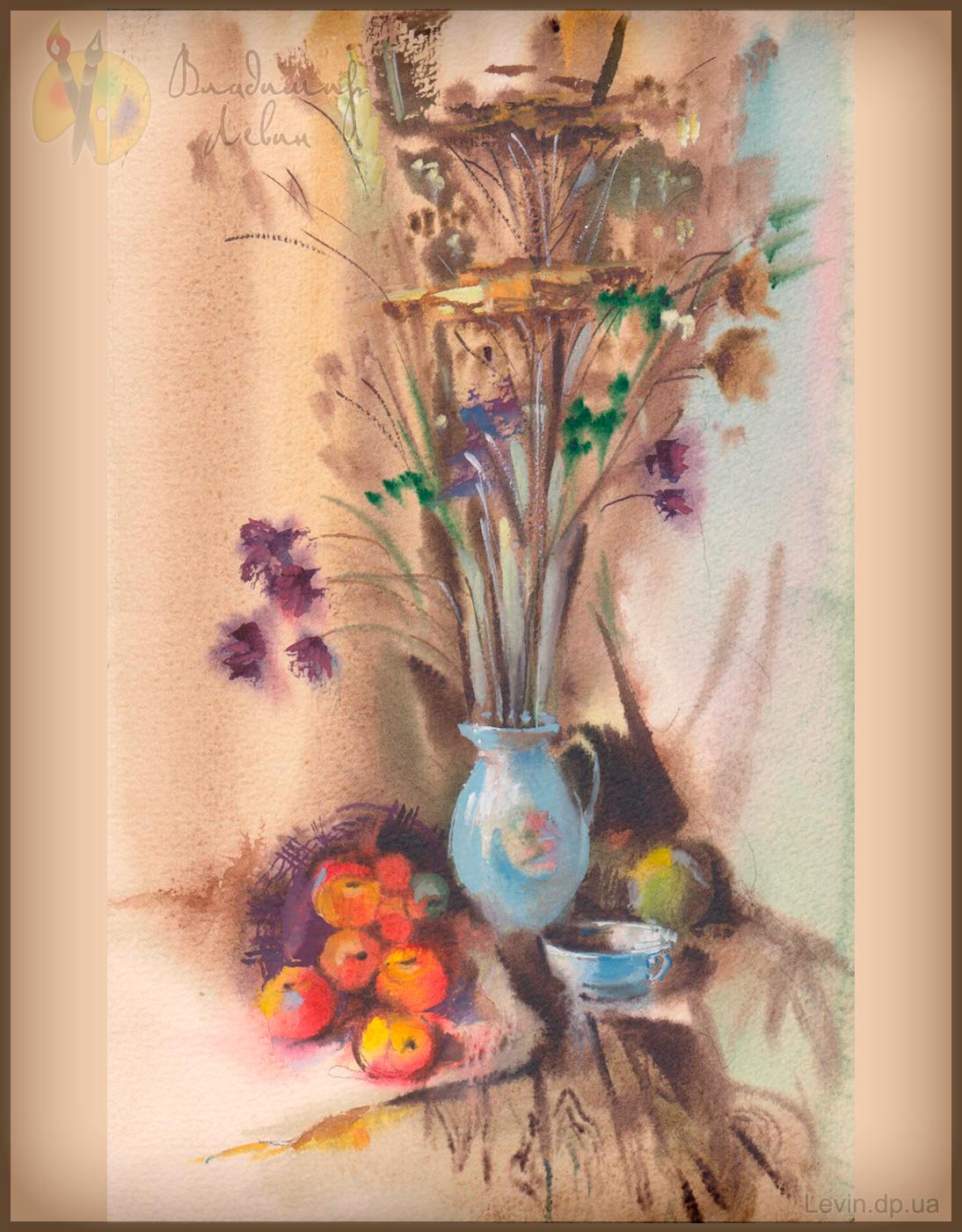 Натюрморт ваза с цветами и фруктами