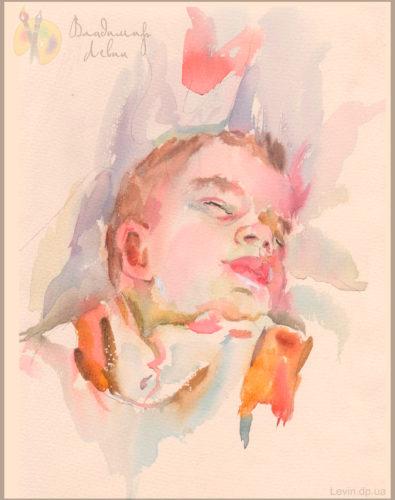 Рисунок, спящий ребенок