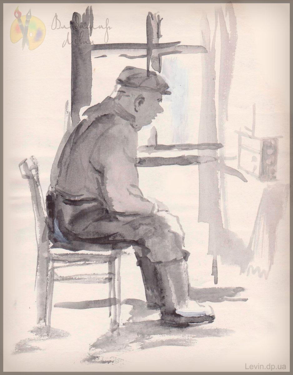Рисунок старик слушает радио