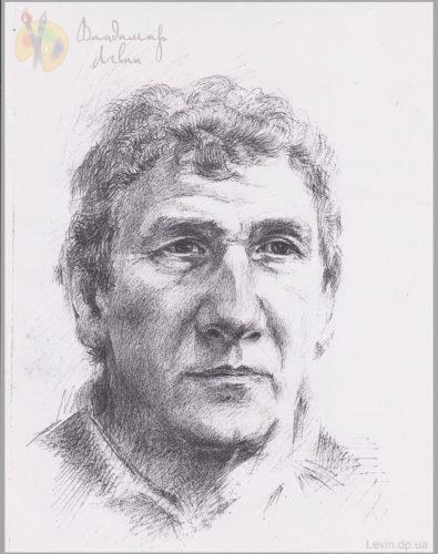 Портрет мужчины, графический рисунок