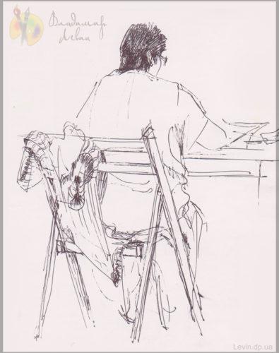 Рисунок, женщина за письменным столом