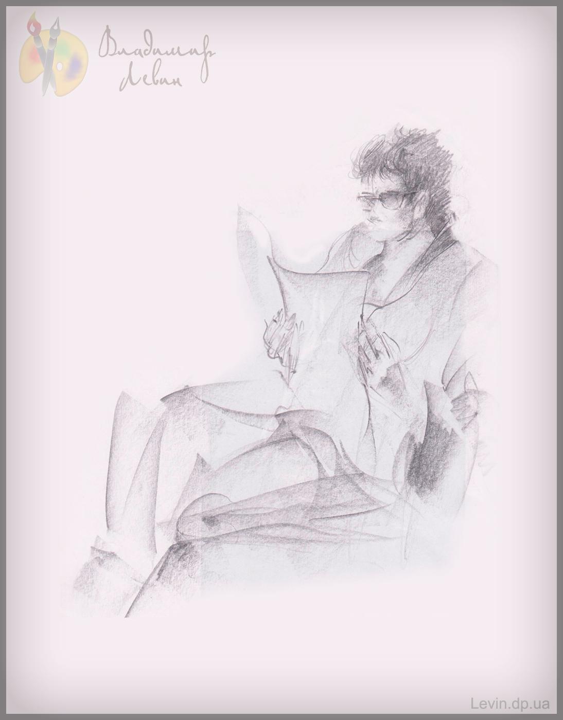 Рисунок углем, женщина