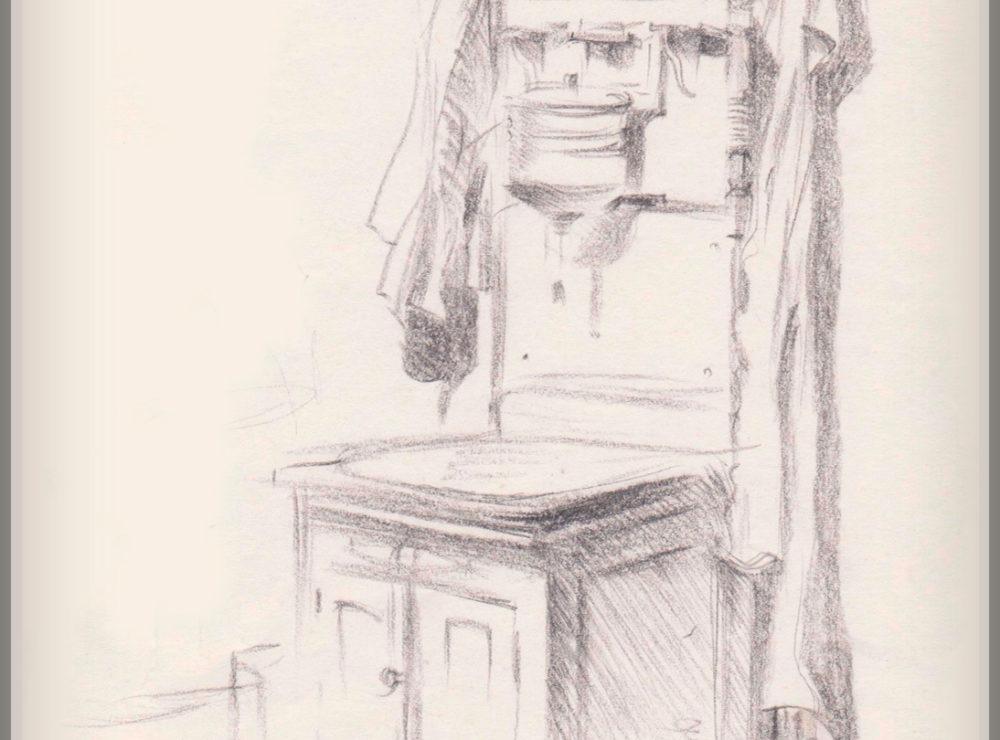 Рисунок, винтажный умывальник