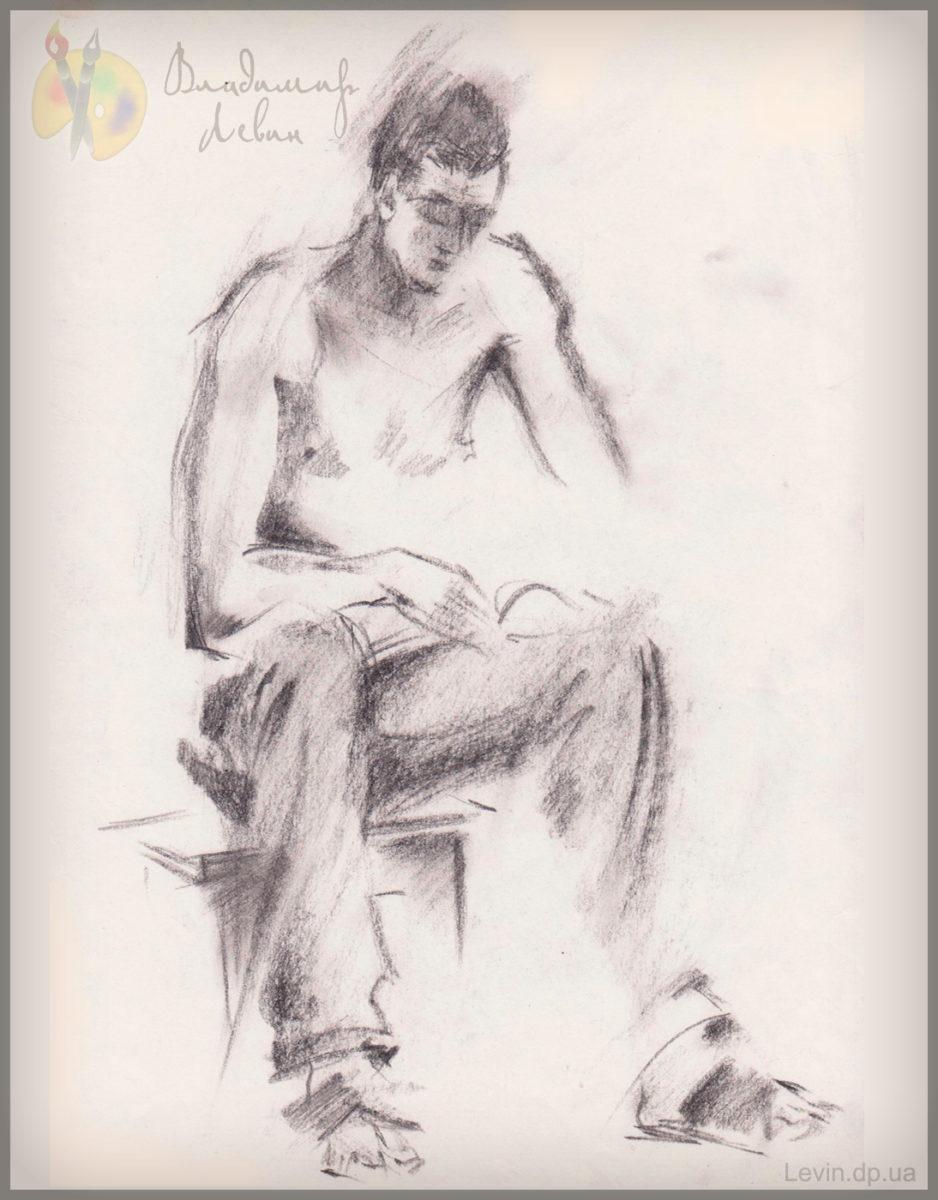 Рисунок мужчины, уголь