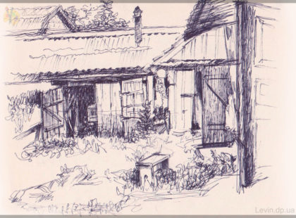 Деревенский пейзаж, зарисовка