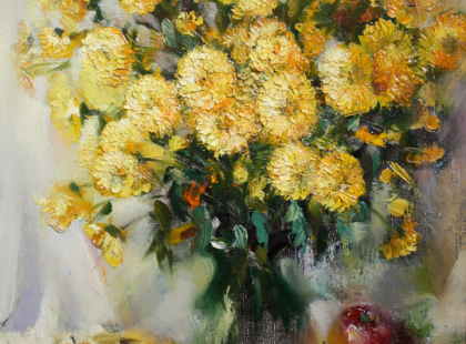 Натюрморт с цветами и яблоками