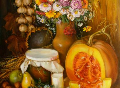 Натюрморт с цветами, тыквой, фруктами