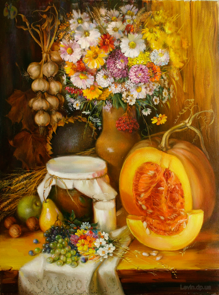 Натюрморт с цветами, тыквой, фруктами ...: www.levin.dp.ua/natyurmort-s-tsvetami-tykvoj-fruktami