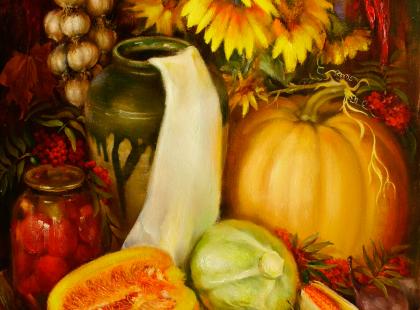Натюрморт с овощями и фруктами